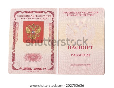 Opened foriegn Russian passport isolated on white - stock photo