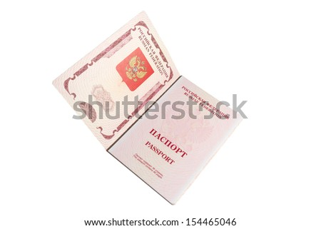 Opened foriegn Russian passport isolated on white with clipping path - stock photo