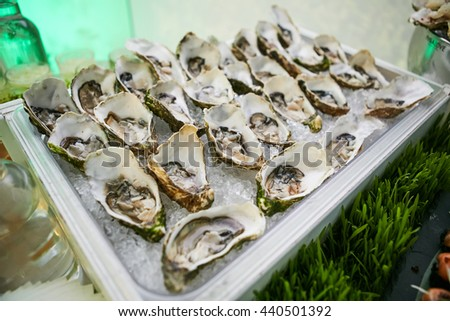 Opened fresh Oysters on plate - stock photo