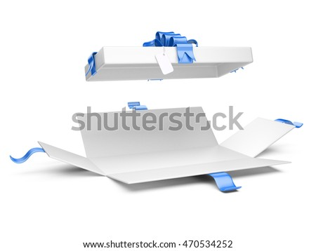 Opened gift box blank with blue ribbon and bow. Isolated on a white background 3D illustration