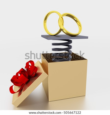 Opened gift box with rings, 3D Illustration