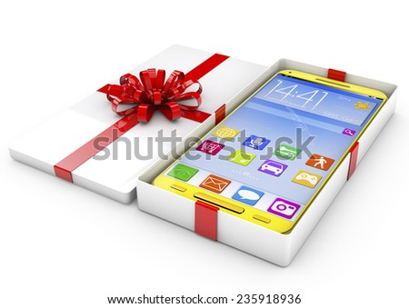 Opened Gift Box with Touchscreen Smartphone isolated on white background - stock photo
