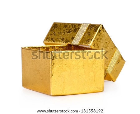Opened gold gift box on a white background - stock photo