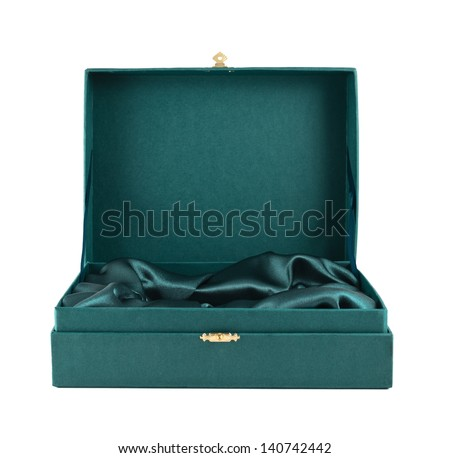 Opened green silk case box with a satin cloth inside isolated over white background, front view - stock photo