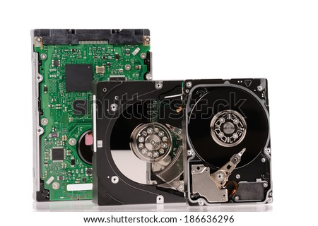 opened hard disk drives  isolated on white background  - stock photo