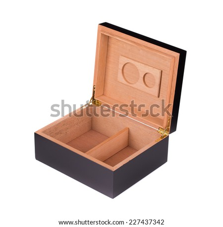Opened humidor. Isolated on a white background. - stock photo