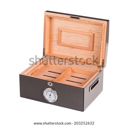 Opened humidor with cigars isolated on white background - stock photo