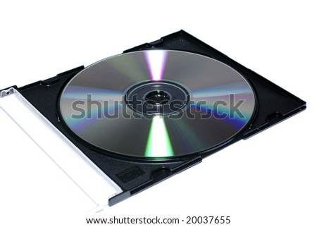Opened jewel case with recordable disc. Isolate on white. - stock photo