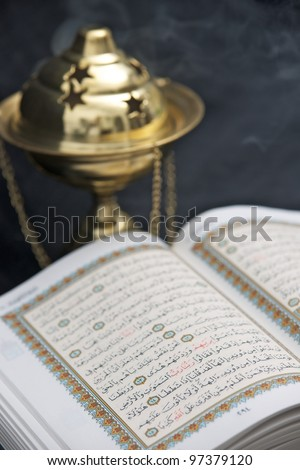 Opened Koran (Quran) - stock photo