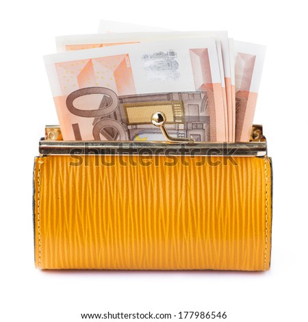 Opened leather purse with some euro banknotes - stock photo