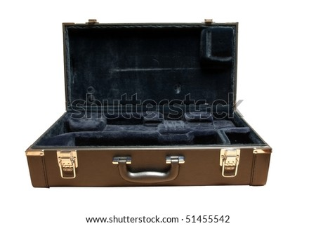 opened leather suitcase for tube with path