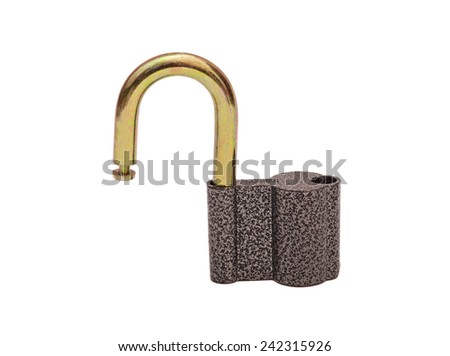 opened lock security isolated on white background - stock photo
