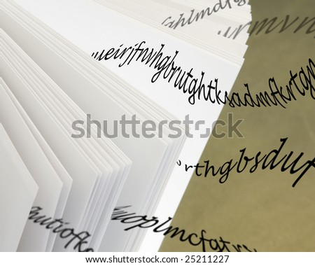 Opened magic book with flying words - stock photo
