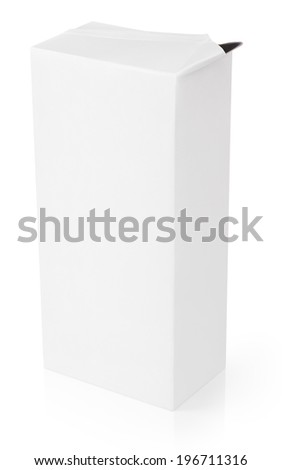 Opened milk or juice carton package isolated on white