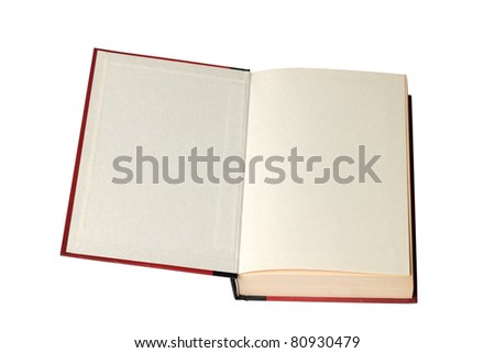 Opened new book - isolated on white - stock photo