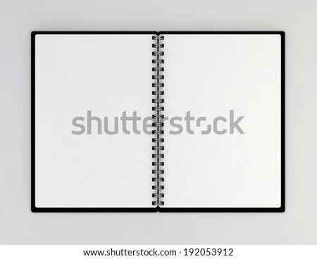 Opened notebook. 3d illustration on gray background  - stock photo