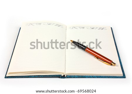 opened notebook with pen isolated - stock photo