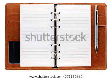 Opened notebook with pen isolated on white background - stock photo