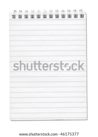 Opened notebook with spiral on top and lines on the pages. Isolated on white. Clipping path included.