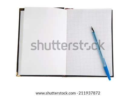 Opened notepad and pen on white background. Personal organizer - stock photo
