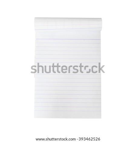 Opened notepad and white background - stock photo