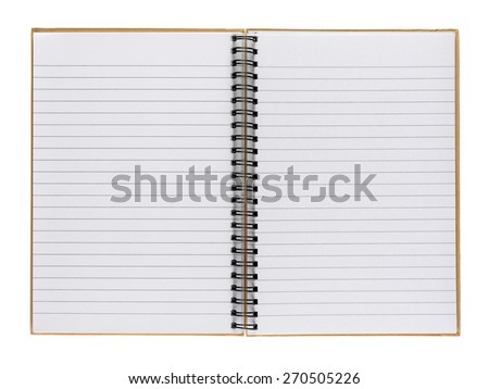 Opened notepad isolated on white background - stock photo