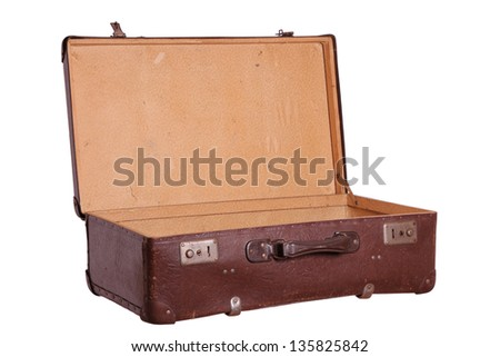 opened old brown suitcase - stock photo