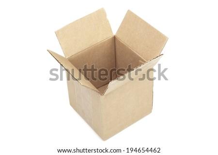Opened package box isolated on white background - stock photo