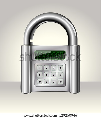 Opened padlock with digital interface,data security concept - stock photo