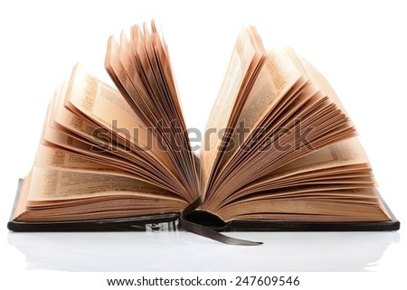 Opened pages of the book lies on a white background - stock photo