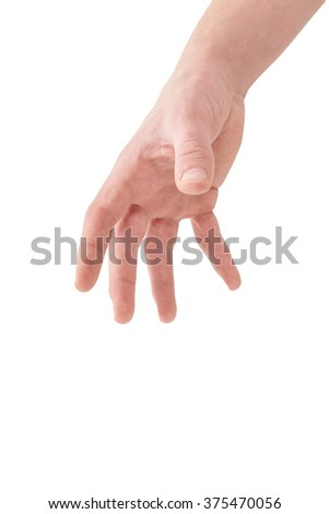 Opened palm human hand from above reaching down, isolated on white, clipping path, bottom view - stock photo