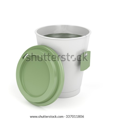 Opened paper tea cup on white background - stock photo