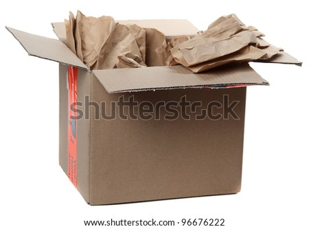 opened parcel with brown  paper - stock photo