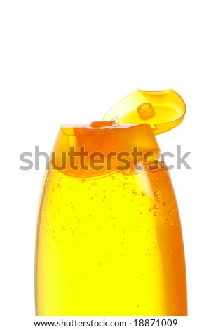Opened plastic bottle with soap or shampoo without label isolated on white background - stock photo