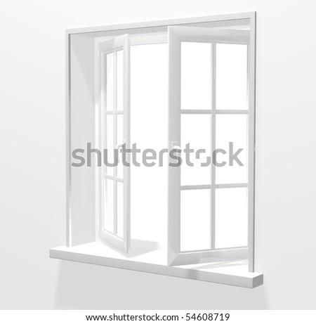 Opened plastic window - stock photo