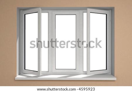 Opened plastic window new in room - stock photo