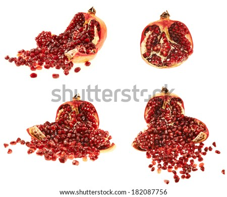 Opened pomegranate fruit with its seed lying around, isolated over white background, set of four foreshortenings
