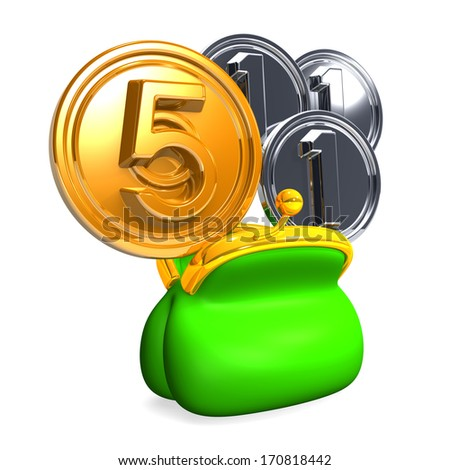 Opened Purse with 5+3 Coins. 3D render illustration.