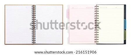 opened recycle note book on white background, clipping path. - stock photo