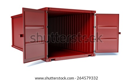 Opened red freight container isolated on white background, front view - stock photo