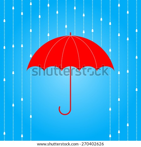 Opened red umbrella and rain on blue background. Raster version. - stock photo