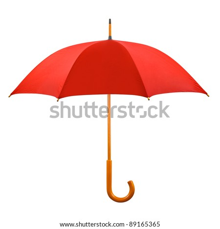 Opened red umbrella isolated on white background - stock photo