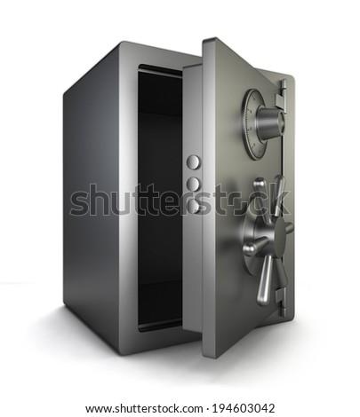 Opened safe. 3d illustration isolated on white background  - stock photo