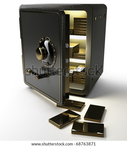 Opened safe with gold ingots isolated on white background. 3d render
