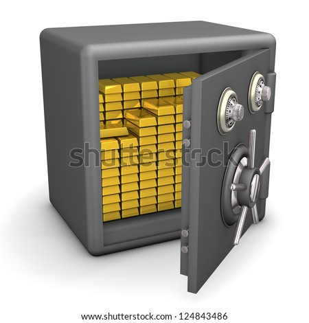 Opened safe with gold on the white background.