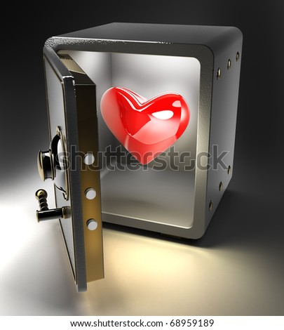 Opened safe with red heart isolated on black background. 3D render
