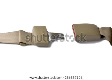 Opened seat belt, Fastened seat belt isolated on white background. This has clipping path. - stock photo