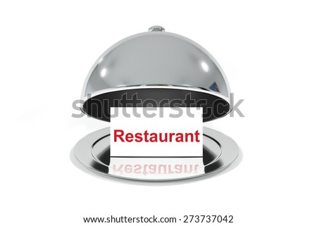 opened silver cloche with white sign restaurant isolated - stock photo