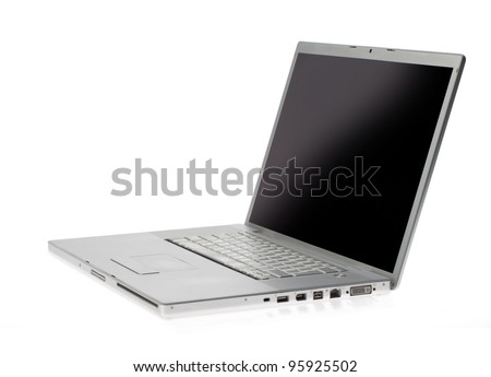 Opened silver lap top with blank screen on a white background - stock photo