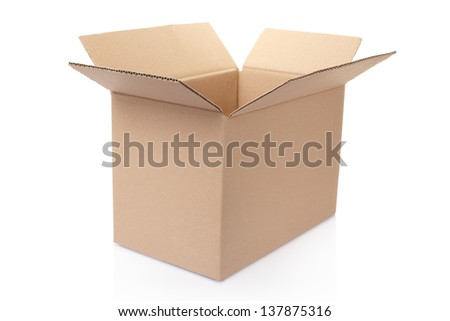 Opened simple cardboard box on white, clipping path included